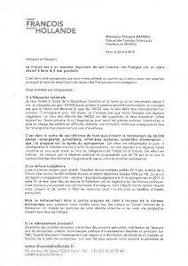 Réponse de François HOLLANDE à François BAYROU dans Infos nationales Hollande1-212x300
